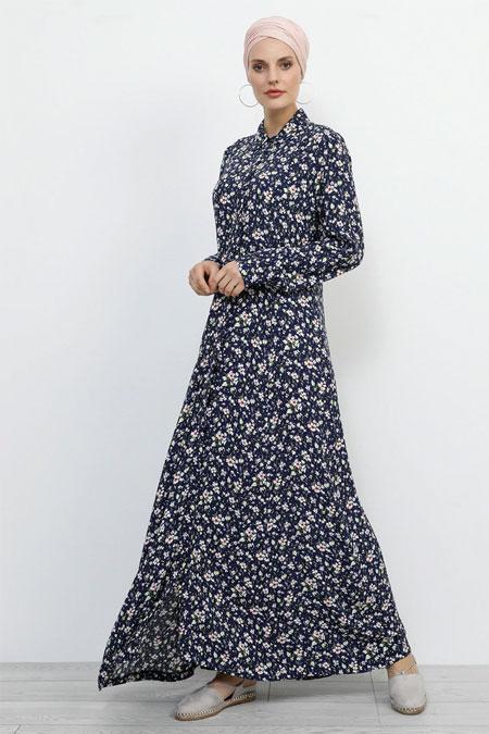 Refka Lacivert Doğal Kumaşlı Boydan Gizli Düğmeli Elbise