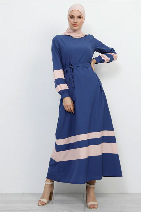 Refka Lacivert Pudra Garnili Elbise