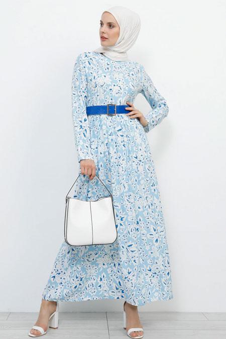 Refka Mavi Doğal Kumaşlı Kemerli Elbise