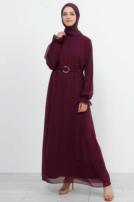 Refka Mürdüm Kemer Detaylı Şifon Elbise