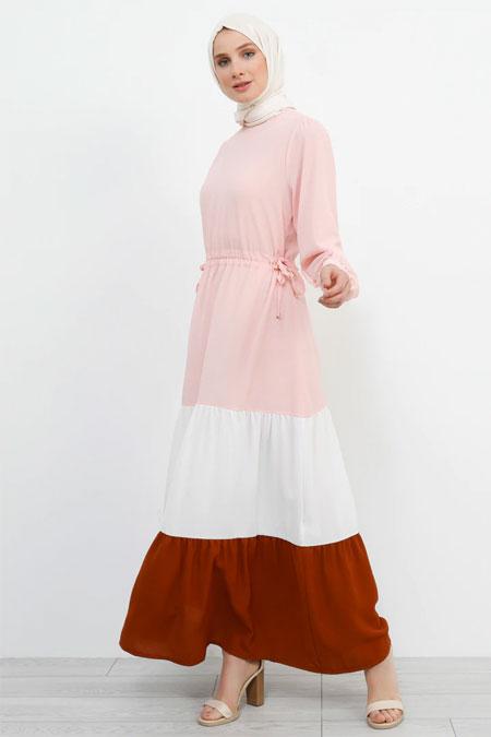 Refka Pudra Beli Bağlamalı Garnili Elbise