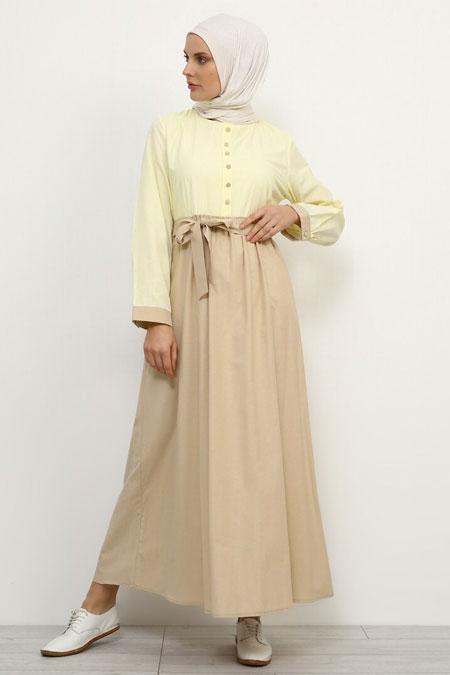 Refka Sarı Bej Düğme Detaylı Pamuklu Elbise