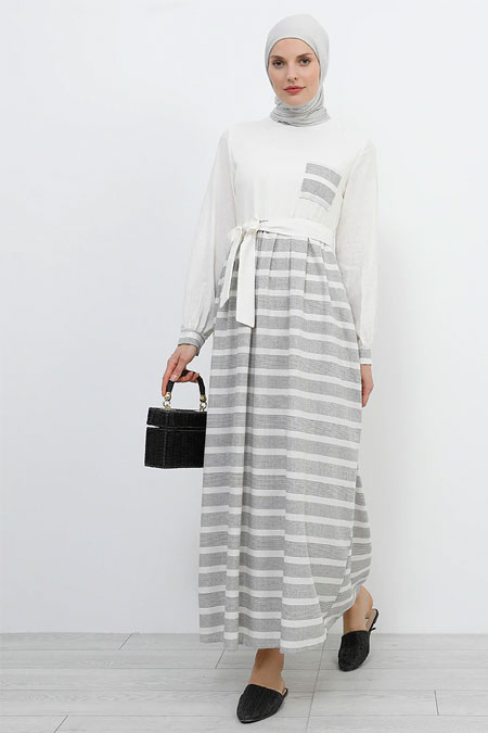 Refka Siyah Krem Doğal Kumaşlı Çizgili Elbise