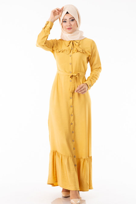 Sarı Düğmeli Fırfırlı Tesettür Elbise