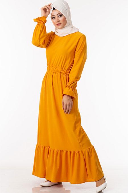 Sarı Fırfırlı Beli Lastikli Tesettür Elbise