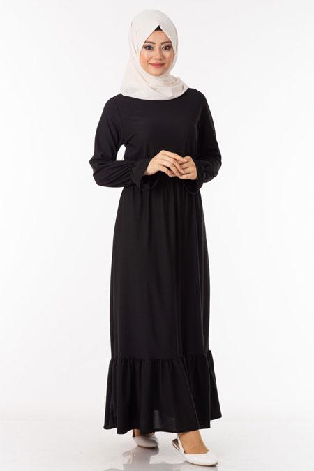 Siyah Fırfırlı Beli Lastikli Tesettür Elbise