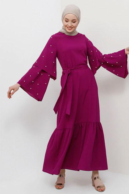 Tavin Mor İncili Volan Detaylı Elbise