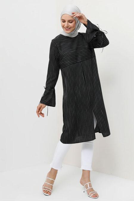 Tavin Siyah Doğal Kumaşlı Çizgili Tunik