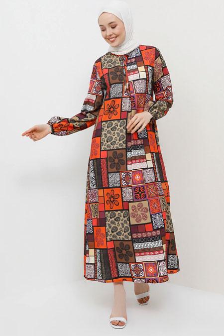 Tavin Turuncu Desenli Elbise
