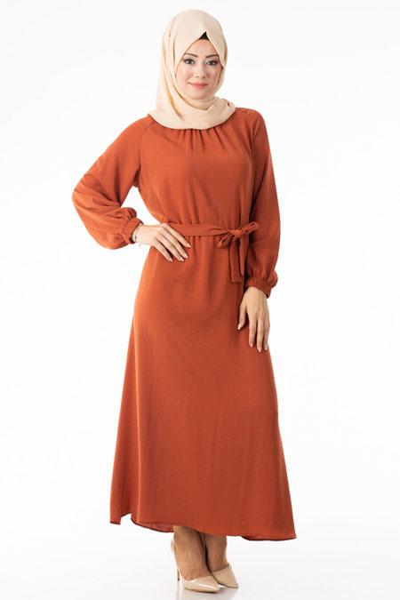Turuncu Kuşaklı Tesettür Elbise