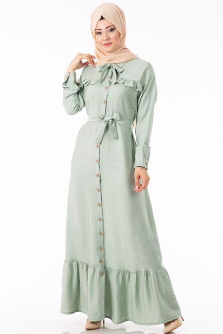 Yeşil Düğmeli Fırfırlı Tesettür Elbise