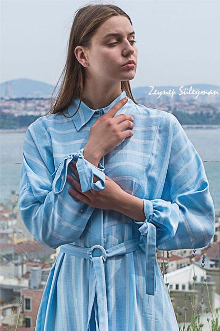 Zeynep Süleyman Açık Mavi Çizgili Elbise