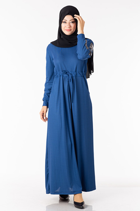 İndigo Kolu Pullu Elbise