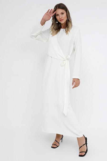 Alia Ekru Bağlama Detaylı Elbise