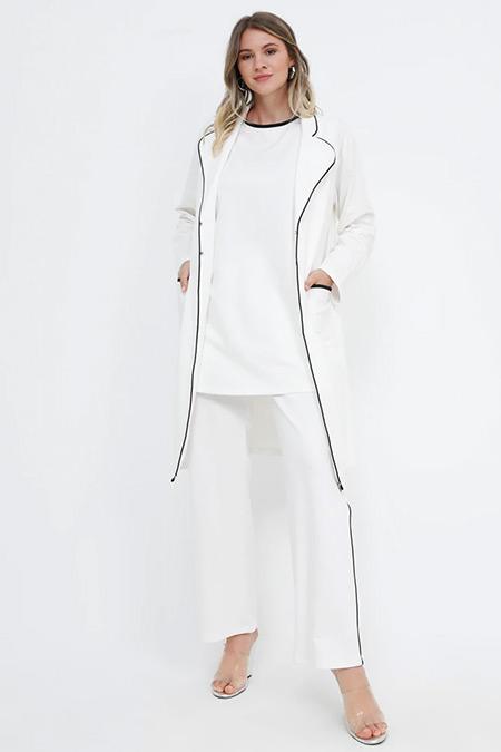 Alia Ekru Siyah Beli Lastikli Biye Detaylı Pantolon