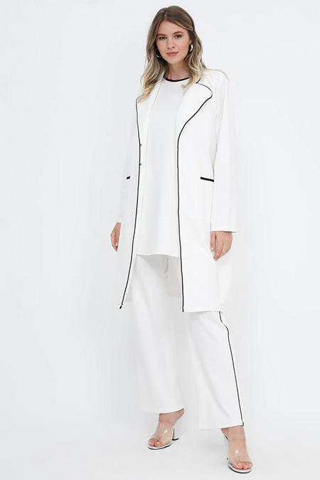 Alia Ekru Siyah Kolsuz Tunik&Ceket İkili Takım