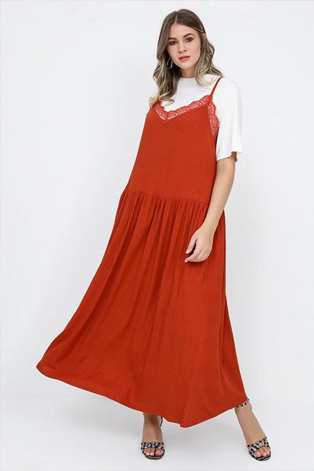 Alia Kiremit Ekru Tişört&Elbise İkili Takım