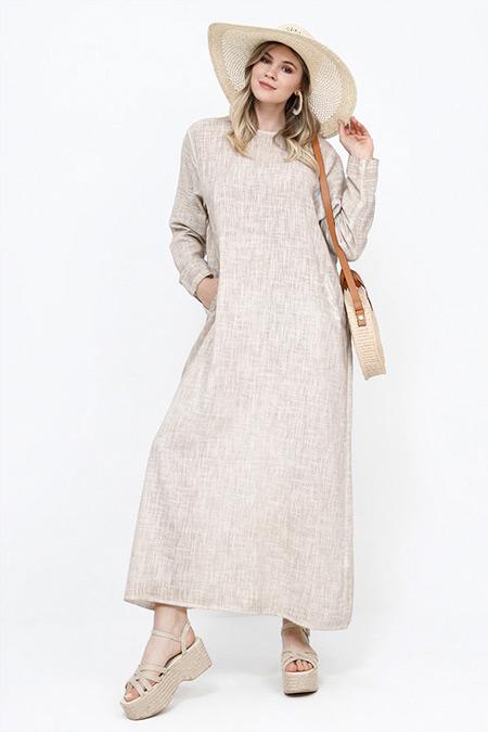 Alia Kum Beji Doğal Kumaşlı Cepli Elbise