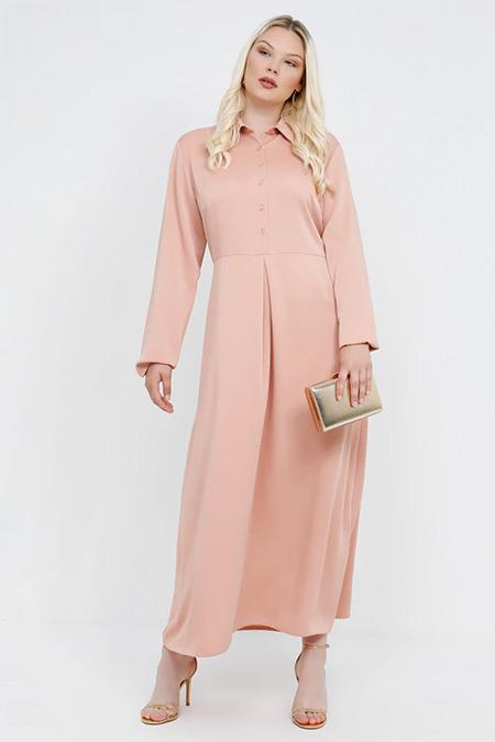 Alia Pembe Düğme Detaylı Elbise