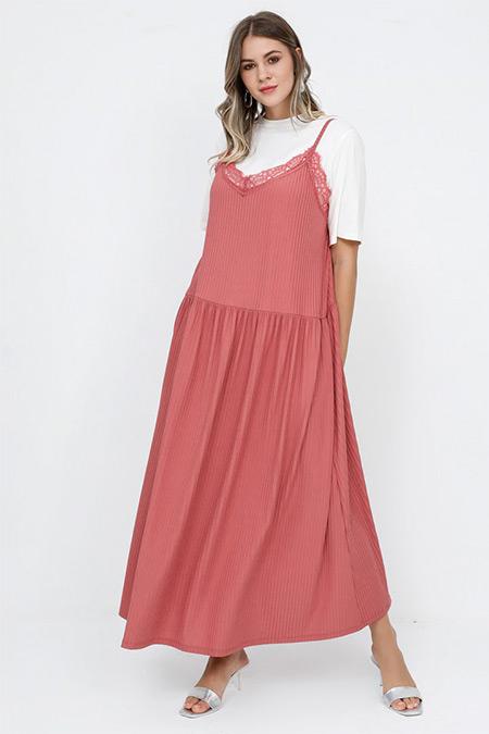 Alia Somon Ekru Tişört&Elbise İkili Takım