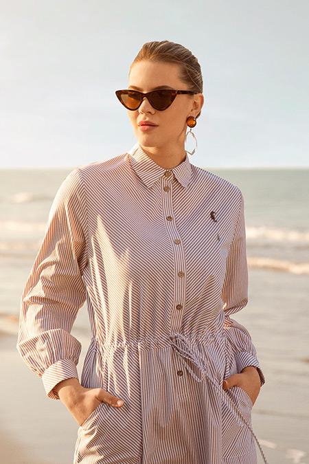 Alia Vizon Beyaz Düğme Detaylı Çizgili Elbise