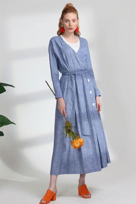 Arzen Mavi Çizgili Elbise