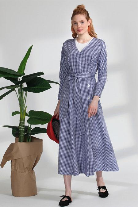 Arzen Mavi Kareli Elbise