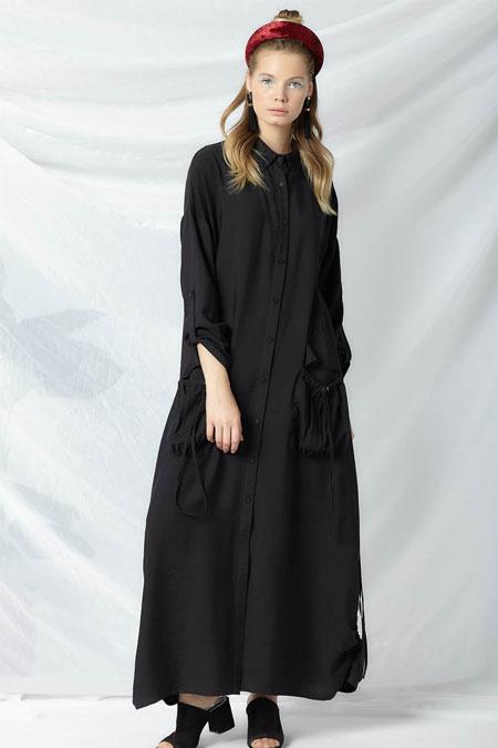 Arzen Siyah Gömlek Elbise