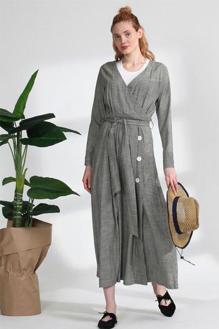 Arzen Yeşil Çizgili Elbise
