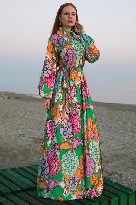 Ayşen Özen Çiçekli Yeşil Elbise