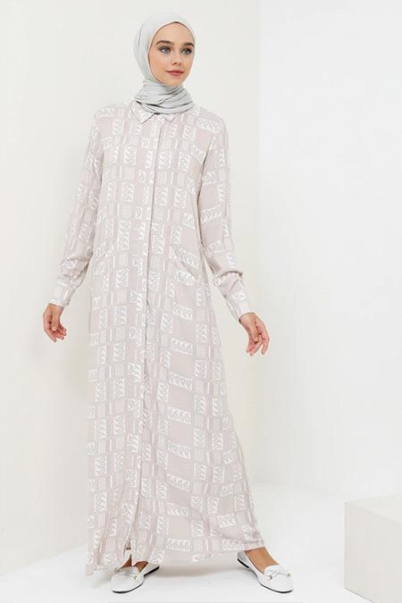 Benin Bej Doğal Kumaşlı Boydan Düğmeli Elbise