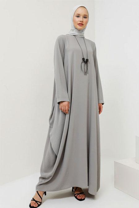 Benin Gri Kolyeli Salaş Elbise