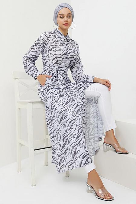Benin Mor Boydan Düğmeli Cep Detaylı Elbise
