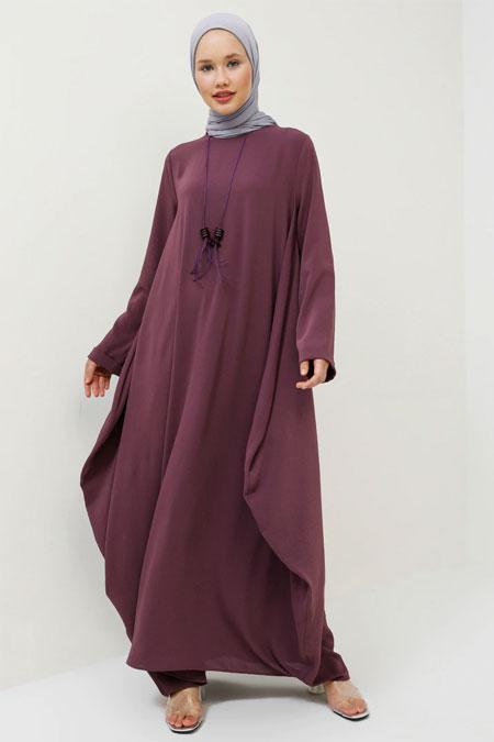 Benin Mürdüm Kolyeli Salaş Elbise