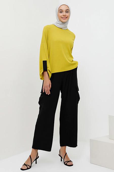 Benin Siyah Cep Detaylı Bol Paça Pantolon
