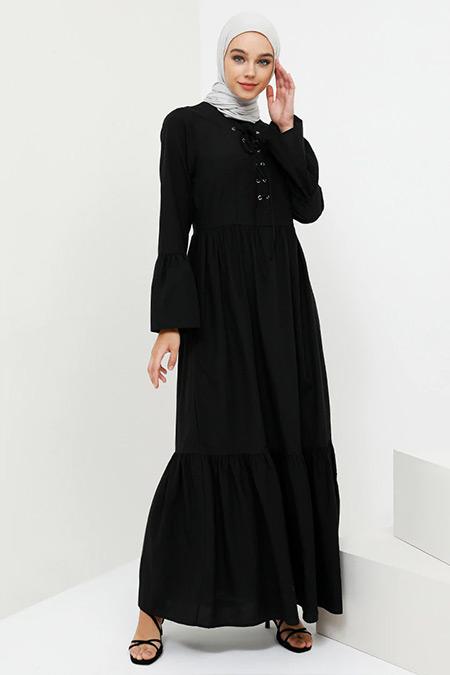 Benin Siyah Fırfır Detaylı Bağcıklı Elbise