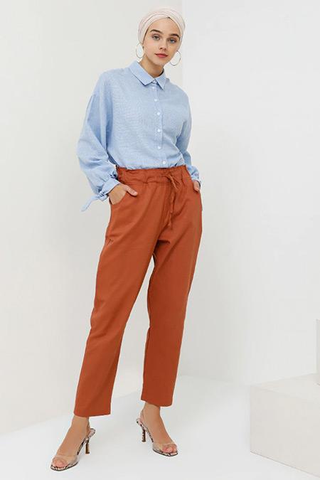 Benin Tarçın Beli Lastikli Pantolon