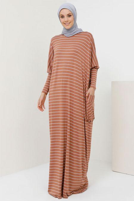 Benin Tarçın Doğal Kumaşlı Çizgili Salaş Elbise