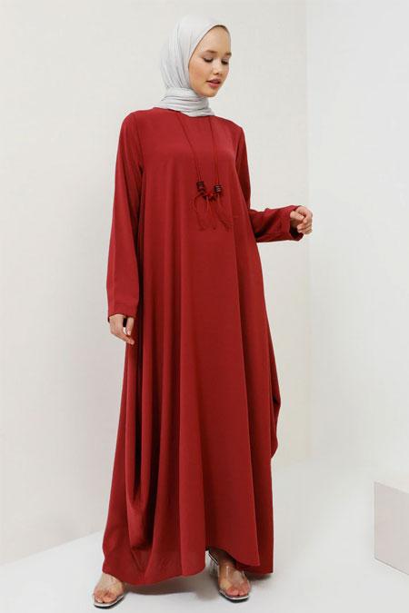 Benin Vişne Kolyeli Salaş Elbise