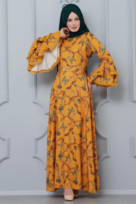Butik Neşe Hardal Kolları Dantel Süslemeli Elbise