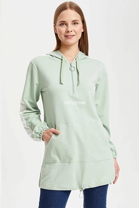 DeFacto Mint Kolları Renk Bloklu Kapüşonlu Tunik