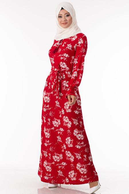 Çiçek Desen Kırmızı Tesettür Elbise