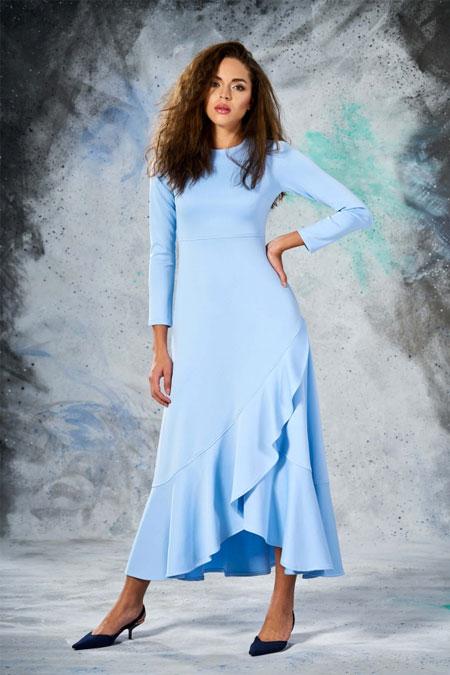Eda Atalay Bebe Mavisi Volanlı Elbise