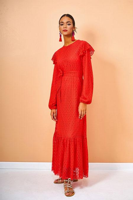 Eda Atalay Kırmızı Dantel Elbise