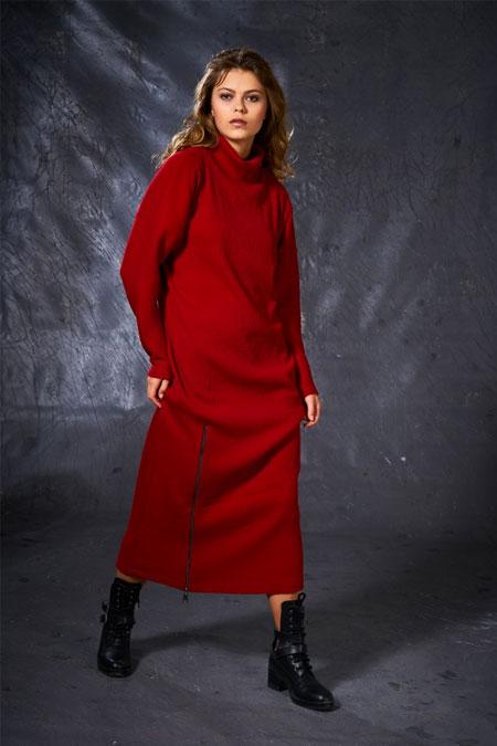 Eda Atalay Kırmızı Fermuar Detaylı Triko Elbise