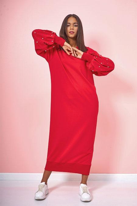 Eda Atalay Kırmızı Kolu İnci Detaylı Elbise