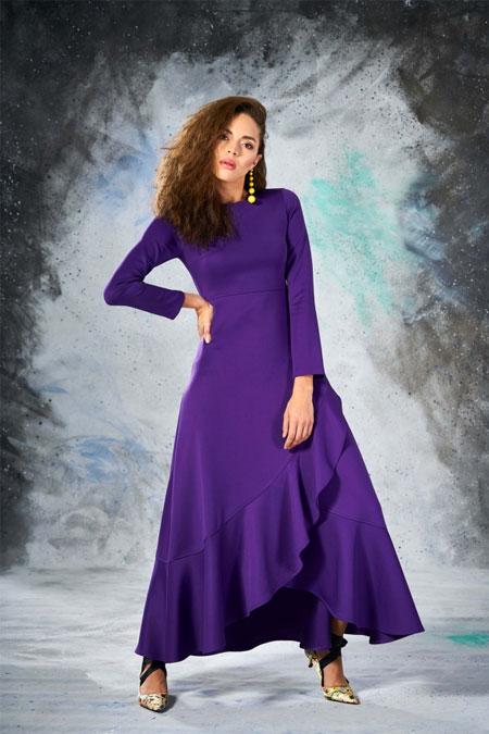 Eda Atalay Mor Volanlı Elbise