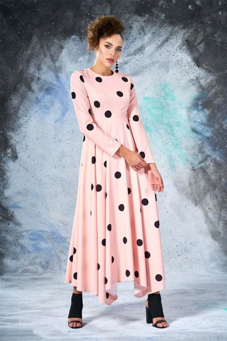 Eda Atalay Pudra Puantiyeli Elbise