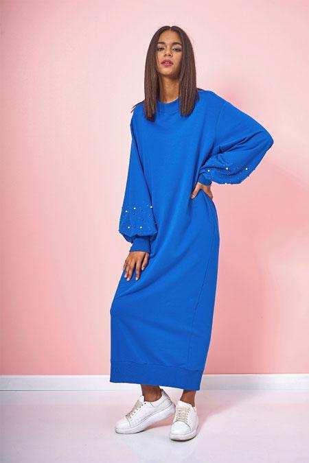 Eda Atalay Saks Kolu İnci Detaylı Elbise