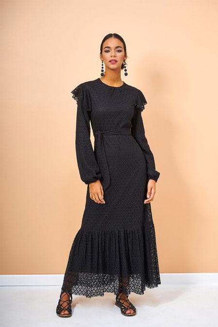 Eda Atalay Siyah Dantel Elbise